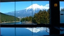 湯面に映るさかさ富士