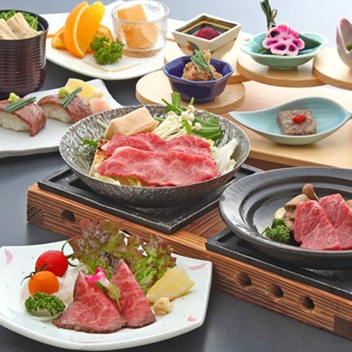 近江牛のすき焼き、陶板焼き、ローストビーフ、牛寿司が楽しめる