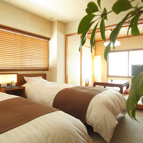 【ふんわりベッドの和洋室】ツインベッド+和室6畳(一例)
