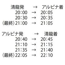 温泉送迎バス時刻表(一日三往復)