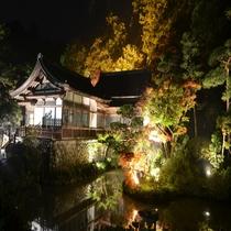 宝登山神社ライトアップ池