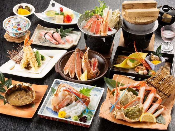活かに刺し・蟹の焼き・ゆで・天ぷら・小鍋!全14品♪(甲羅焼きは2名分)