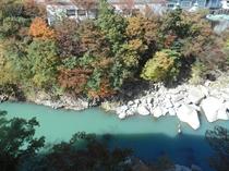 露天風呂からの眺め ♪時は川、昨日は岸辺♪