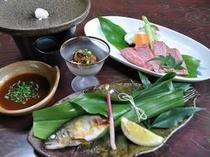 佐賀県産和牛の陶板焼や、山里の食材を使った会席(一例)
