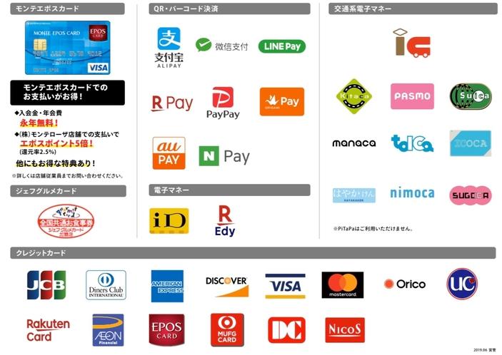 クレジットカード・QRコード決済対応