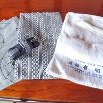 【アメニティ】浴衣とタオル。各お部屋に完備しています。