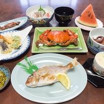 天然鯛を一匹まるまるど召し上がれ!!※夕食一例。季節によりメニュー変更有。