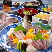 【旬魚の姿造り&地獄の兜蒸し】※季節などによりお料理内容が変わります。