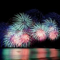*【周辺】芦ノ湖夏まつりウィークのスタートを切る「湖水まつり花火大会」。
