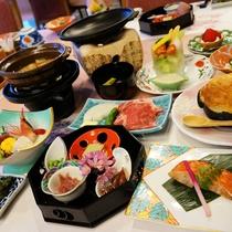 *【夕食一例】グレードアップ料理一例。旬な味覚が詰まった贅沢な和会席。