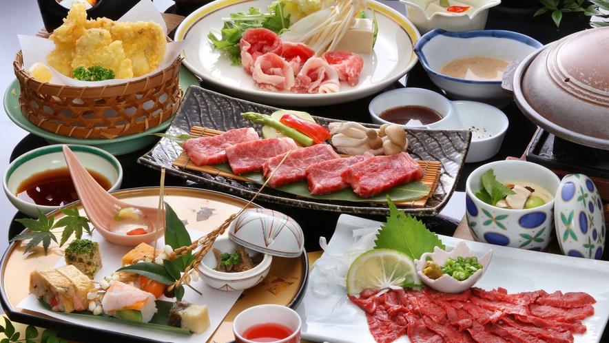 やっぱりお肉が好き!九州産「牛・豚・鶏・馬」が集結◆豪華肉尽くし会席