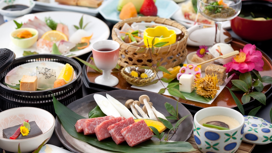 九州産黒毛和牛の陶板焼き会席/一例