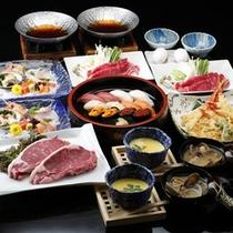 ◆豪華4大夕食プラン~道産和牛ステーキ・寿司・天ぷら・すき焼きで満腹!
