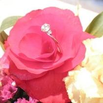 お花に婚約指輪