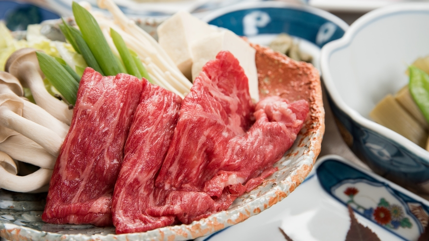 *【夕食一例】熊野牛のすき焼き(小鍋)