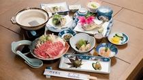 *【熊野牛のしゃぶしゃぶ付き】さっぱりとした食べ口で女性にも人気のしゃぶしゃぶで。