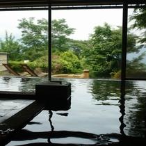 箱根外輪山を望む大浴場と美人湯と誉れの高い自家源泉の露天風呂