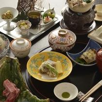 飛騨牛や箱根西麓野菜、相模湾の幸を巧みに盛込む京懐石