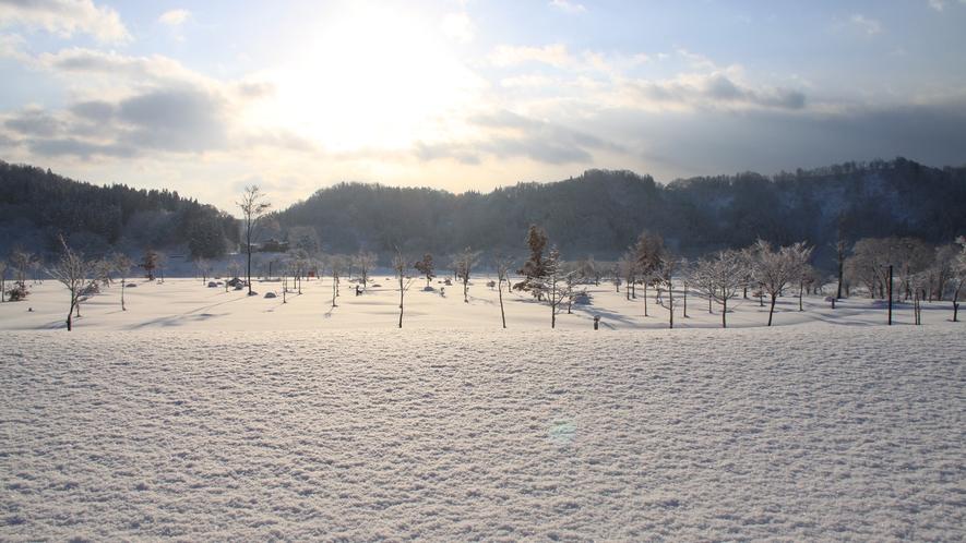 *[冬/雪景色]雪解け間近の白川湖。