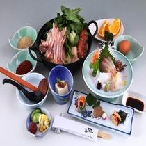 ヘルシー鍋に海老とホタテをプラスした山海の幸をご堪能いただけます。お刺身と前菜も3点盛り!
