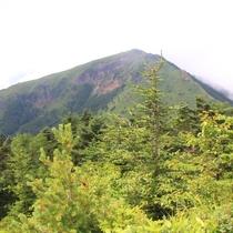 四阿山登山道から根子岳を一望