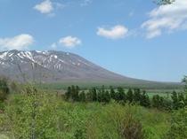 館内から望む新緑の南部富士「岩手山」の勇姿(春)