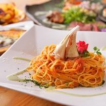 選べる洋食プラン、ずわい蟹とトマトのパスタ