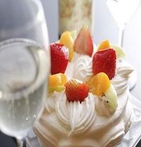 シャンパン+ケーキ