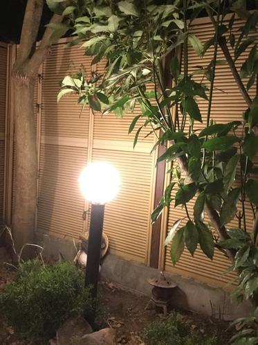 夜のお風呂には庭園灯が灯り、くつろぎの時間へ誘います。