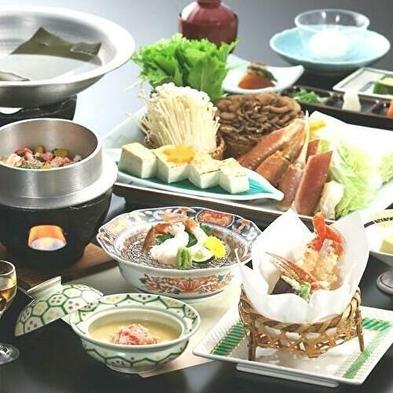 【かに会席】ほっこり生ガニのお鍋、かにの天婦羅、かに釜飯と冬の旬彩料理(2食付)