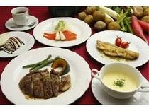 2. 夕食の一例新鮮な魚介類と富良野産の食材を使った、コースディナー