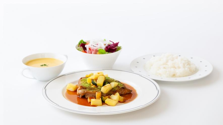 長州鶏モモ肉のロースト香草風味(夕食)