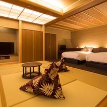 【全室専有露天風呂付】ヴィラ楽園 宙の庭 Type K ・和室/ベッドルーム(一例)