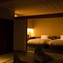 【全室専有露天風呂付】ヴィラ楽園 星の庭 Type J ・和室/ベッドルーム(一例)