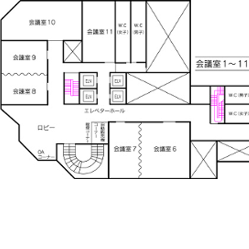 2号館 会議室平面図(6〜11会議室)