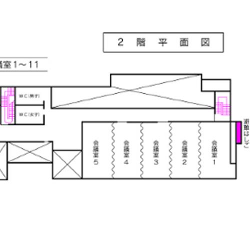 2号館 会議室平面図(1〜5会議室)