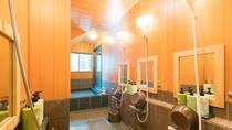 *【風呂/女湯】洗い場はコンパクトですがそれぞれのスペースが確保できます。