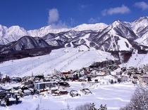 栂池高原スキー場の全景