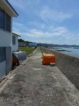 愛犬と散歩、防波堤B