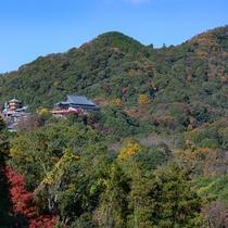 *当館(テラス)からの景観。眼下に広がる信貴山の眺望を楽しめます。