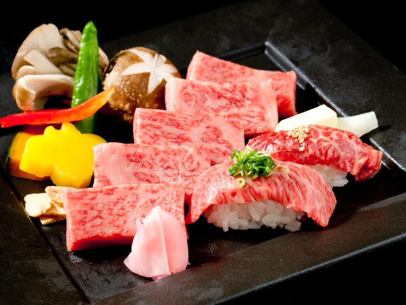 A5等級黒毛和牛 ステーキ&炙り寿司 120g