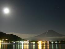 朝昼晩 夜中の富士山
