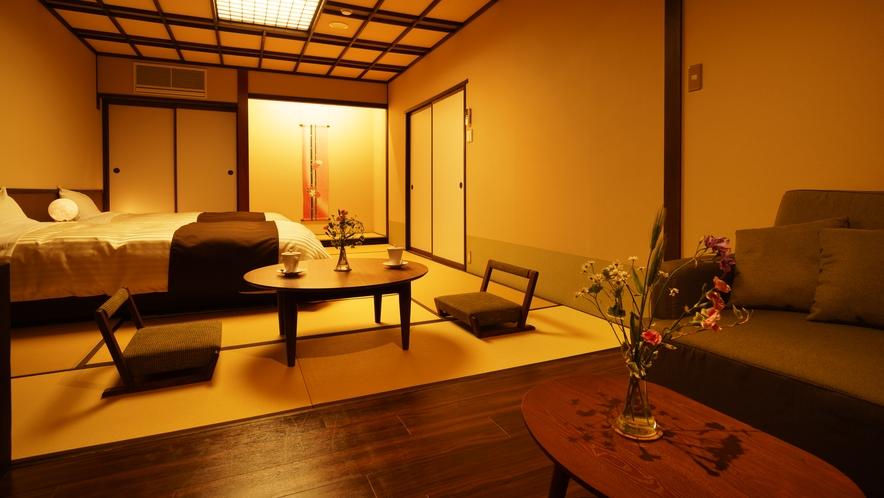【ツインルーム】411号室_和室にセミダブルベッド2台