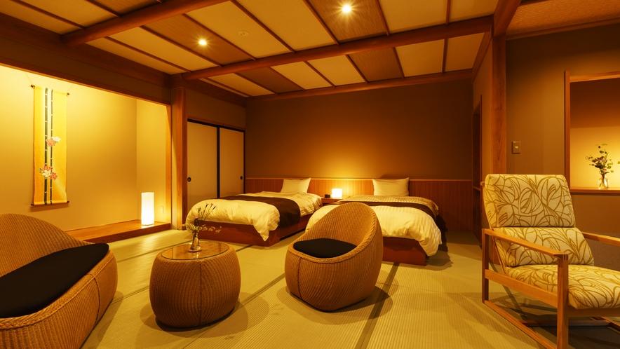 【和室ベッドルーム】みやこわすれ_和室にセミダブルベッド2台
