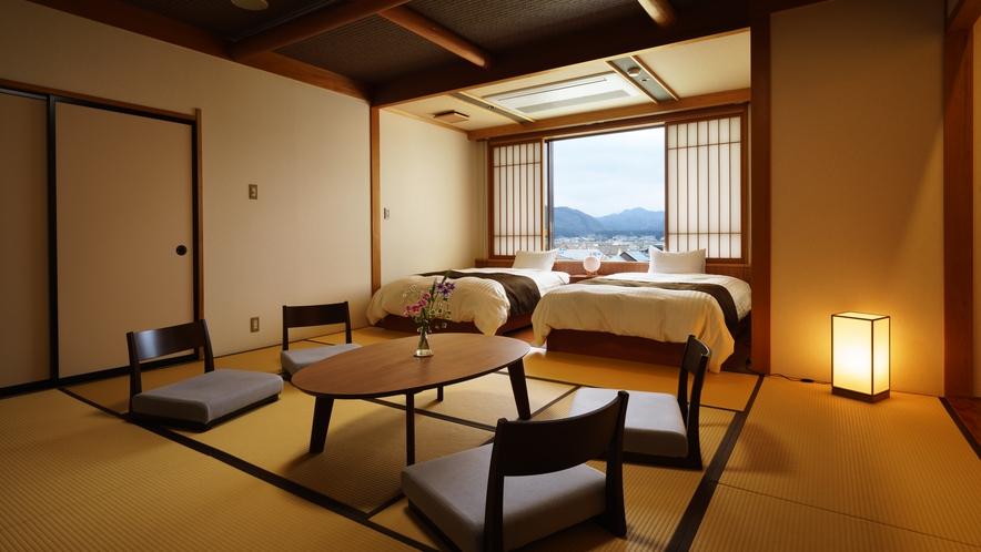 【和室ベッドルーム】はまなす_和室にセミダブルベッド2台