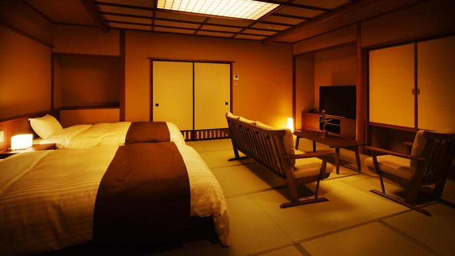 【和室ベッドルーム】はなみずき_和室にセミダブルベッド2台