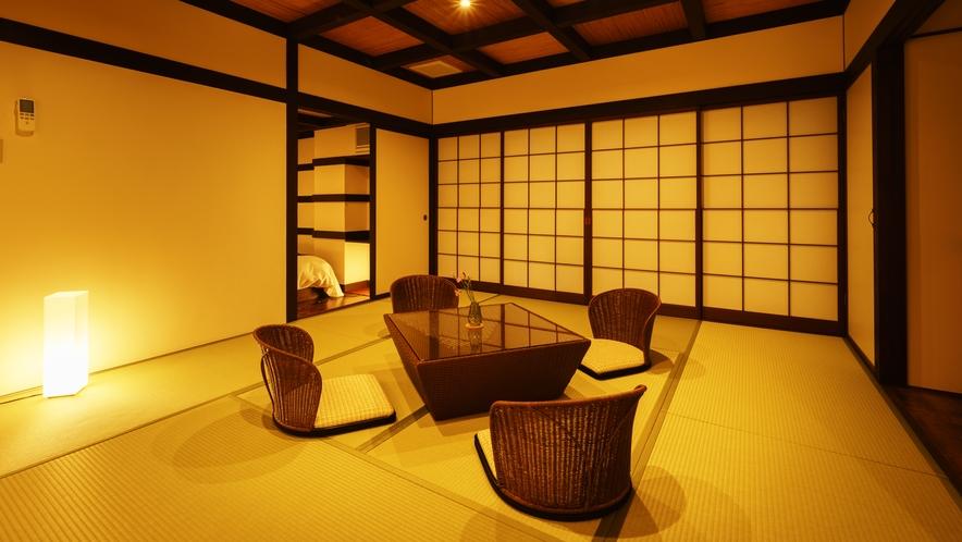 【和室ベッドルーム】めのう_和室にセミダブルベッド2台
