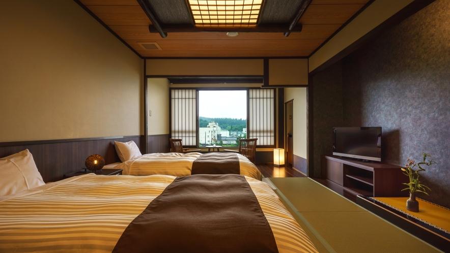 【ツインルーム】307号室_和室にセミダブルベッド2台
