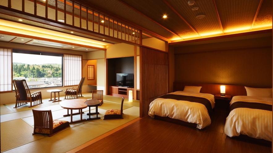 【さつき邸やまのは】あやめ_和室/ベッドルーム/リビング/展望風呂