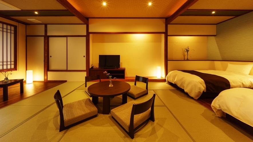 【和室ベッドルーム】ひすい_和室にセミダブルベッド2台